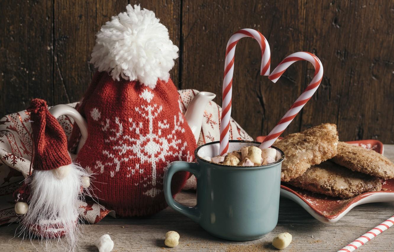 Photo wallpaper decoration, New Year, Christmas, mug, Christmas, cup, New Year, decoration, xmas, Merry, hot chocolate, marshmallow, …