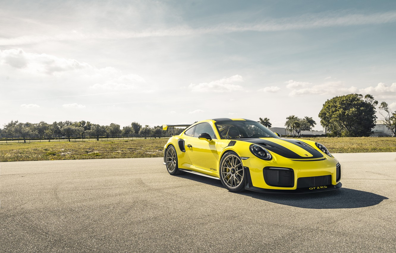 Photo wallpaper Porsche, Yellow, 991, VAG, Sight, GT2RS