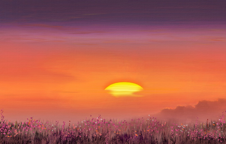 Photo wallpaper sunset, figure, photoshop, the evening
