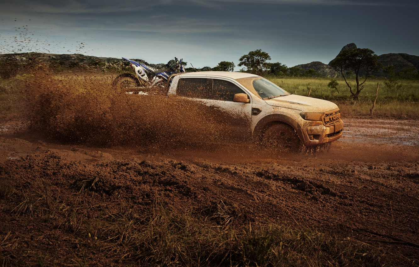 Photo wallpaper squirt, earth, Ford, dirt, in motion, pickup, Storm, Ranger, 2020