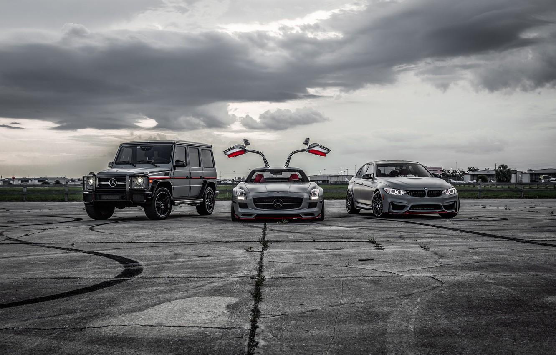 Photo wallpaper BMW, Light, Mercedes, SLS, G-Class, F80, Sight, LED
