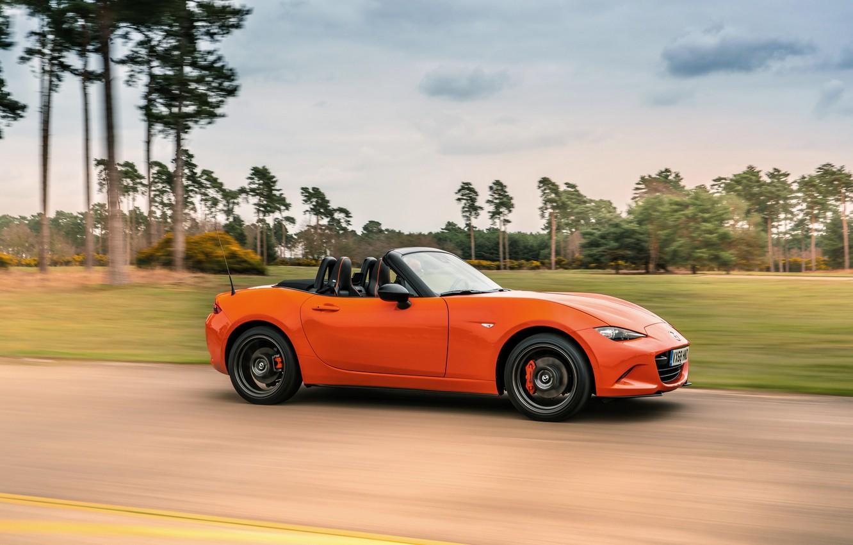 Photo wallpaper orange, movement, Mazda, Roadster, side view, MX-5, 30th Anniversary Edition, 2019