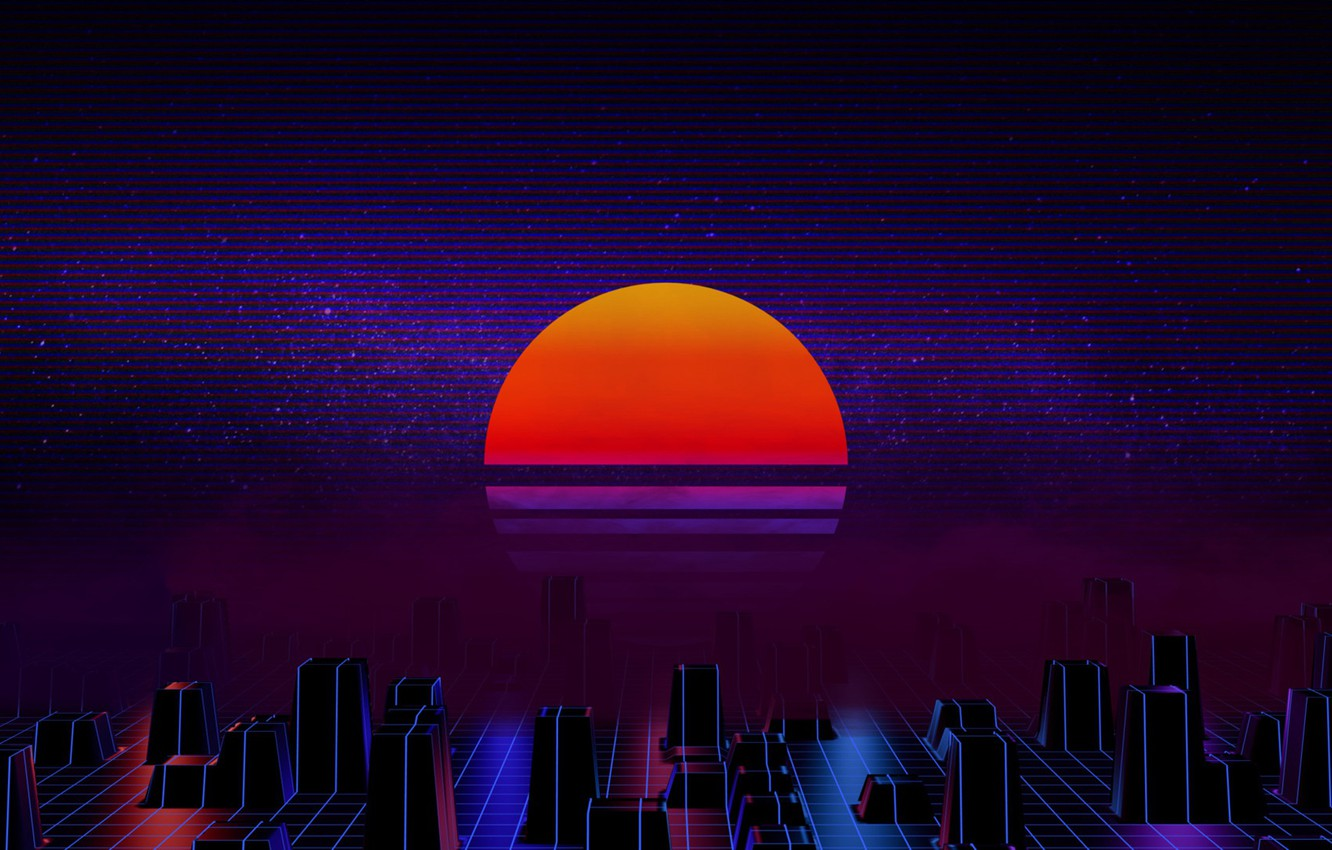 Photo wallpaper The sun, Music, Star, Background, 80s, Neon, 80's, Synth, Retrowave, Synthwave, New Retro Wave, Futuresynth, …