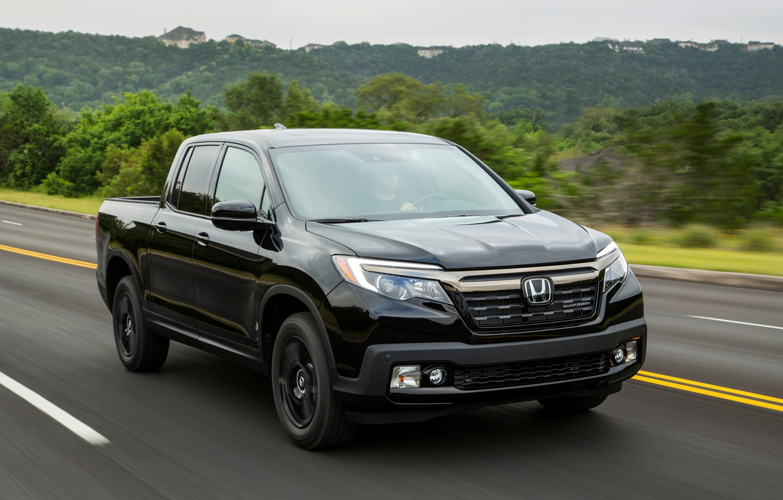 Photo wallpaper asphalt, black, Honda, pickup, Black Edition, Ridgeline, 2019