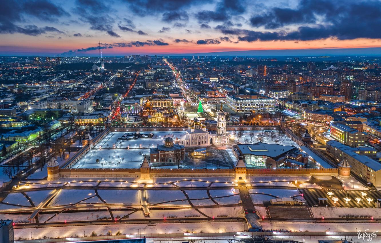 Photo wallpaper winter, building, home, panorama, fortress, Russia, night city, temples, Tula, Ilya Garbuzov, Тульский Кремль