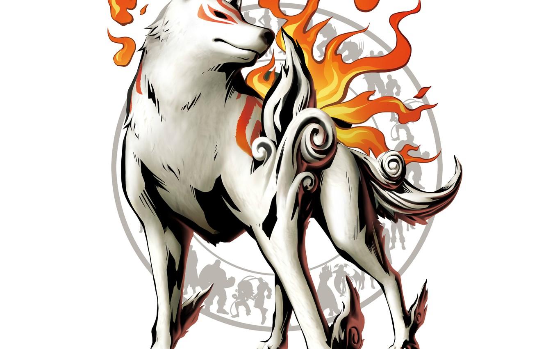 Photo wallpaper fire, flame, wolf, fire, silhouettes, deity, wolf, god, Amaterasu, Amaterasu, Marvel vs. Capcom 3: Fate …