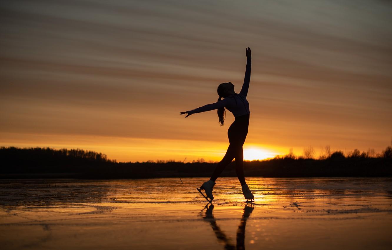 Photo wallpaper girl, sunset, pose, mood, ice, figure skating, skates, frozen lake, Sergei Kalabushkin