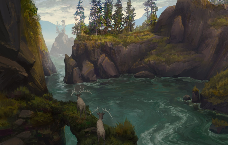 Photo wallpaper animals, landscape, nature, river, stones, rocks, art, deer, illustration