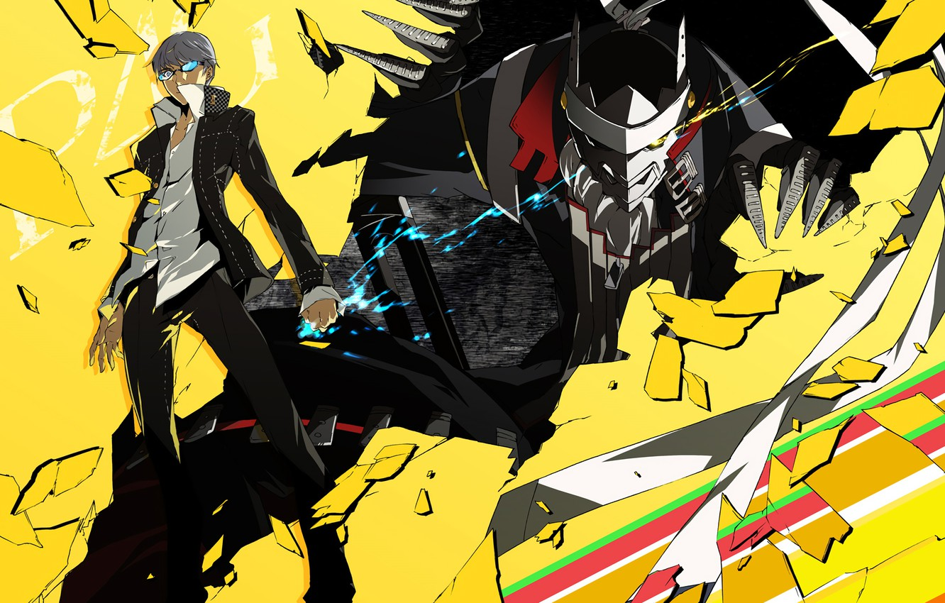 Photo wallpaper characters, Persona 4, Person 4, yellow background