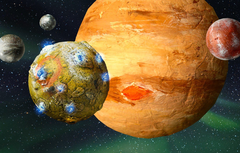 Photo wallpaper art, planets, sci fi