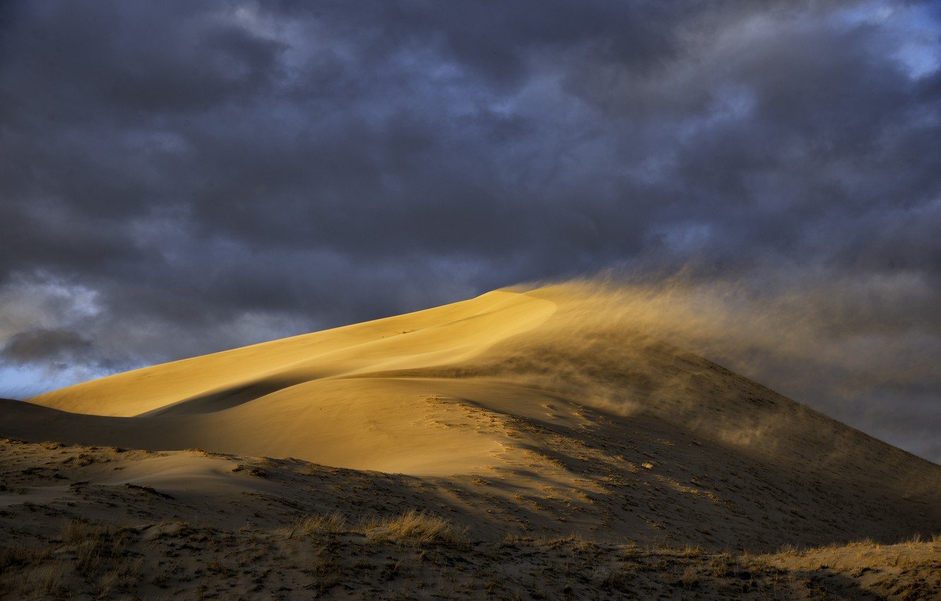 Photo wallpaper sand, the sky, landscape, clouds, nature, the wind, desert, dune