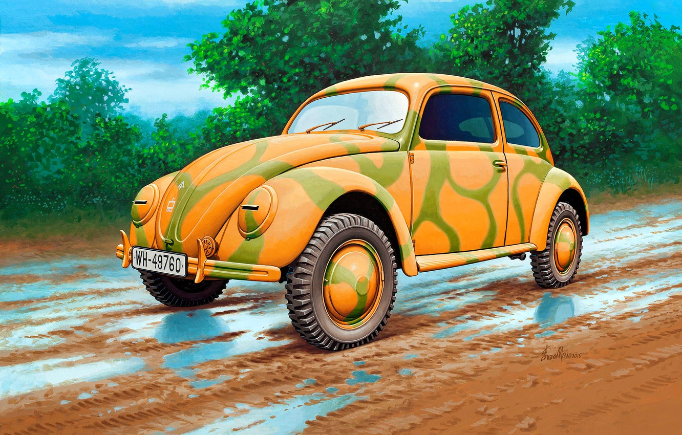 Photo wallpaper Germany, puddles, car, dirt road, passenger, the mass, Kafer, Volkswagen Type 1