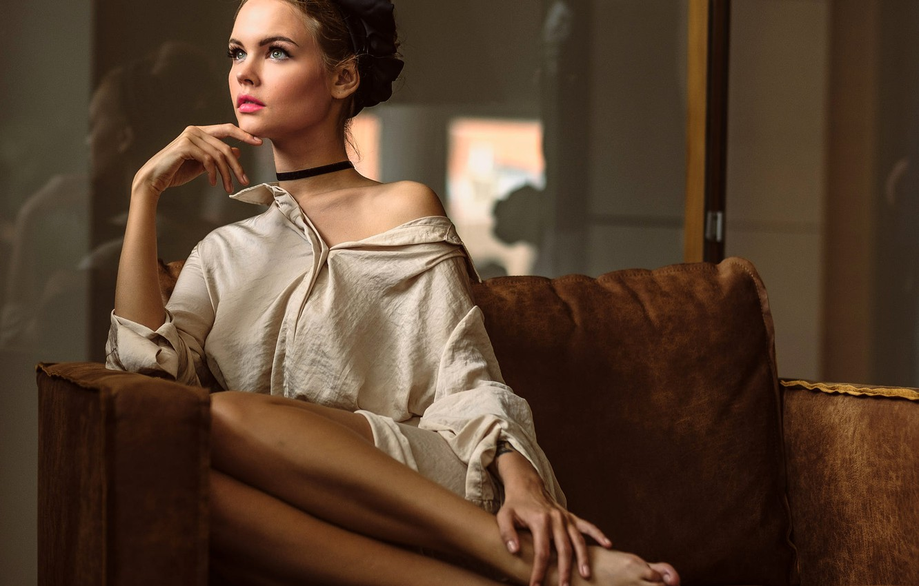 Photo wallpaper pose, model, portrait, makeup, hairstyle, shirt, brown hair, beauty, sitting, on the couch, Anastasia Shcheglova, …