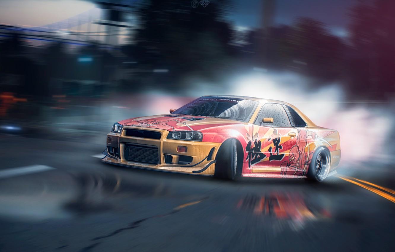 Photo wallpaper drift, Nissan, GT-R, drift, tuning, Skyline, R34, Need For Speed, game art, by Zakon X