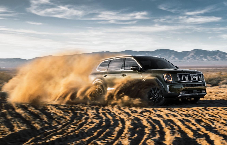 Photo wallpaper sand, machine, clouds, speed, SUV, Kia Telluride