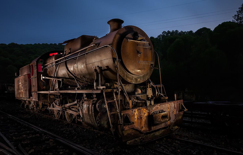 Photo wallpaper night, the engine, railroad