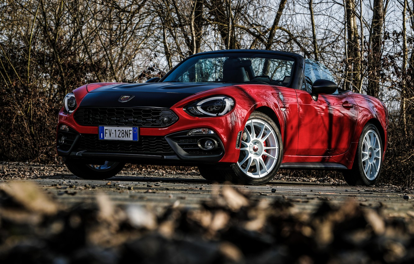 Photo wallpaper branch, Roadster, spider, Abarth, black and red, 124 Spider, 2019, Rally Tribute