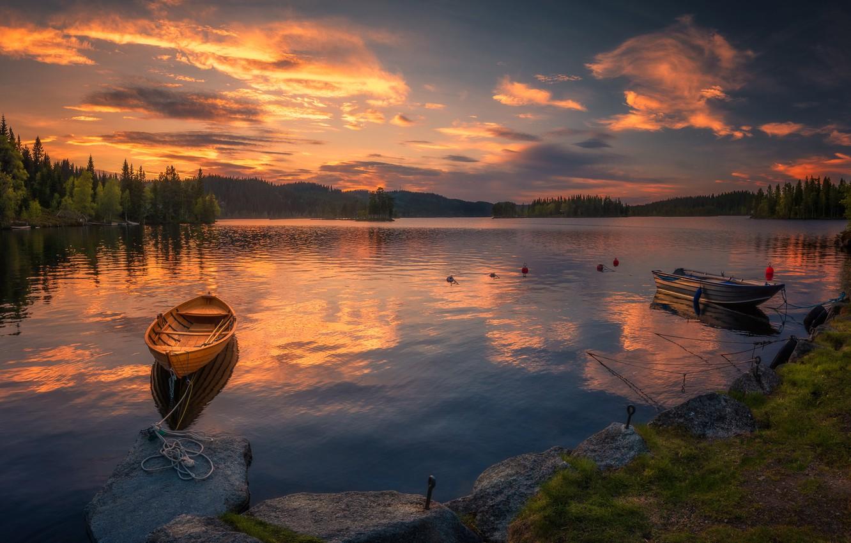Photo wallpaper the sky, sunset, lake, boats, Norway, Norway, Ringerike, Ole Henrik Skjelstad
