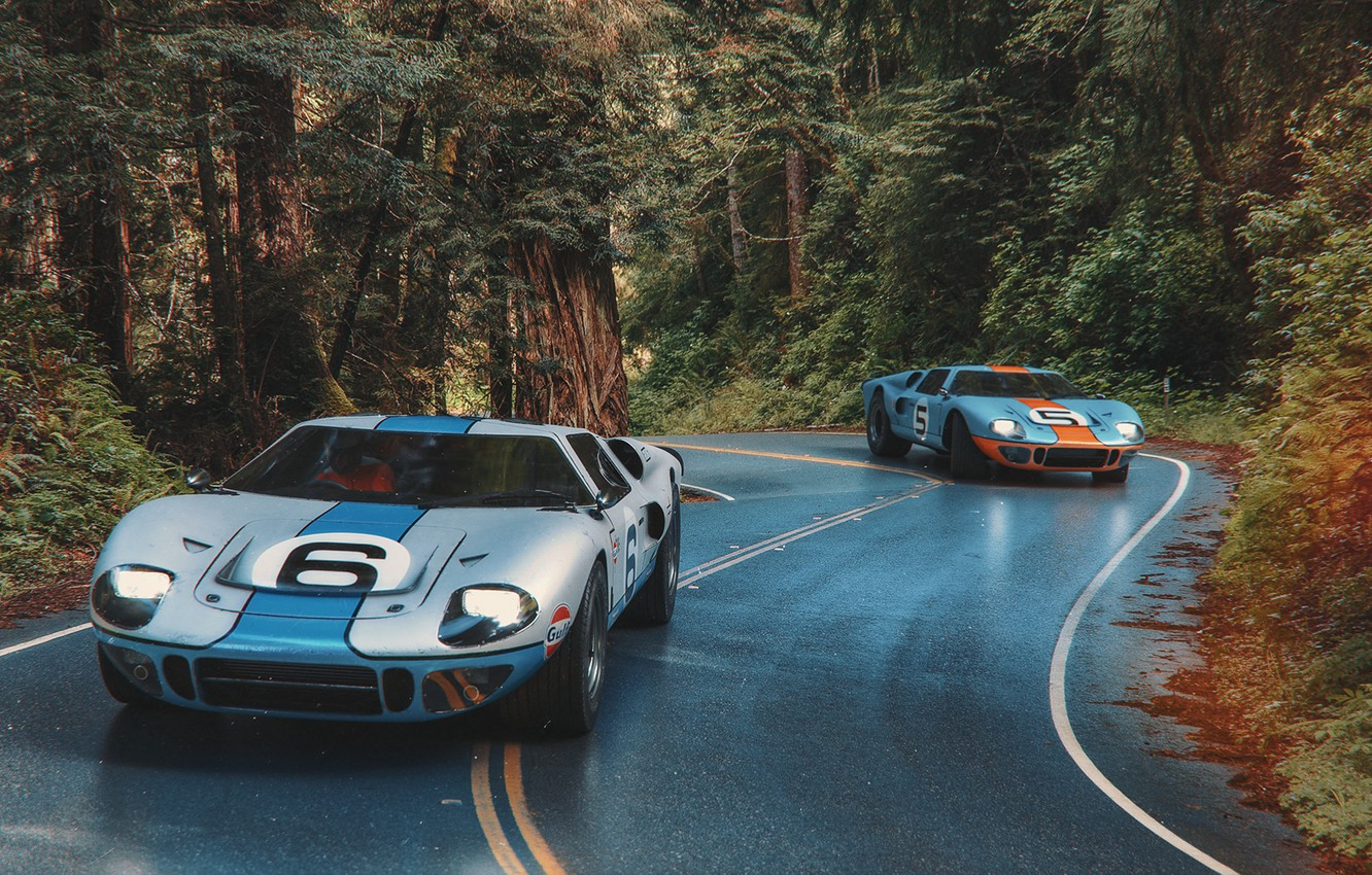 Photo wallpaper road, forest, transport, car, 1966 Ford GT40 MkII