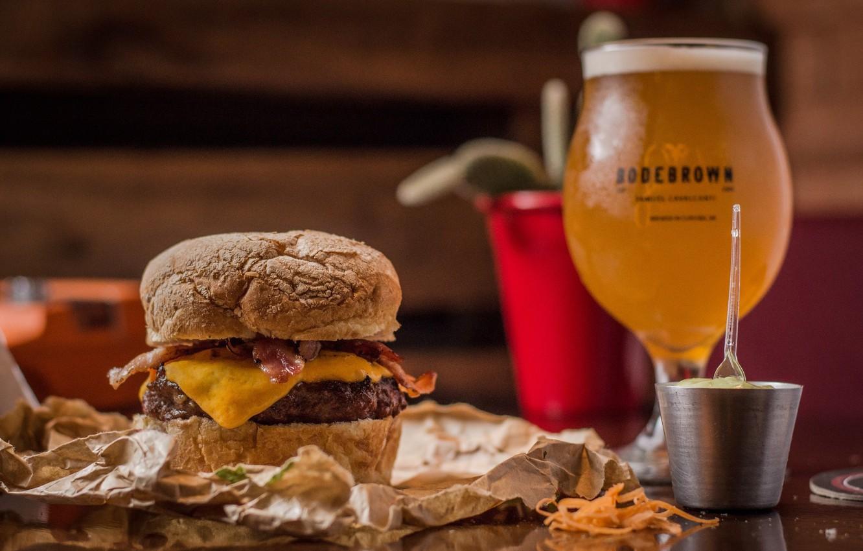 Photo wallpaper glass, food, beer, sandwich, hamburger, mustard