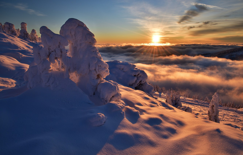 Photo wallpaper winter, the sun, clouds, rays, snow, trees, landscape, sunset, mountains, nature, Czech Republic, shadows