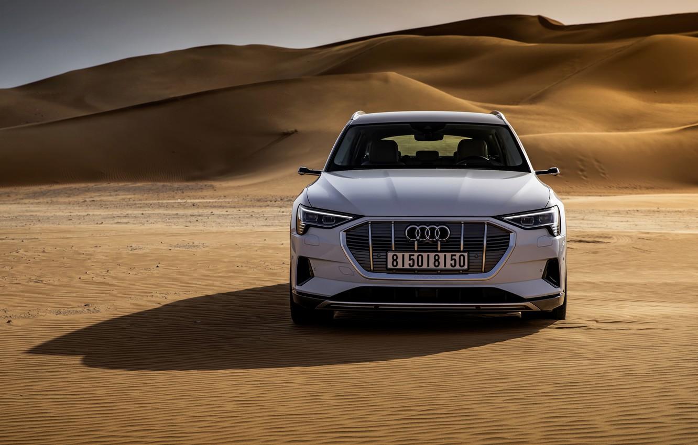 Photo wallpaper white, Audi, desert, front view, E-Tron, 2019