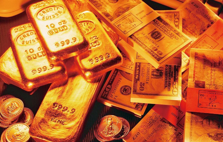 Photo wallpaper money, coins, bars