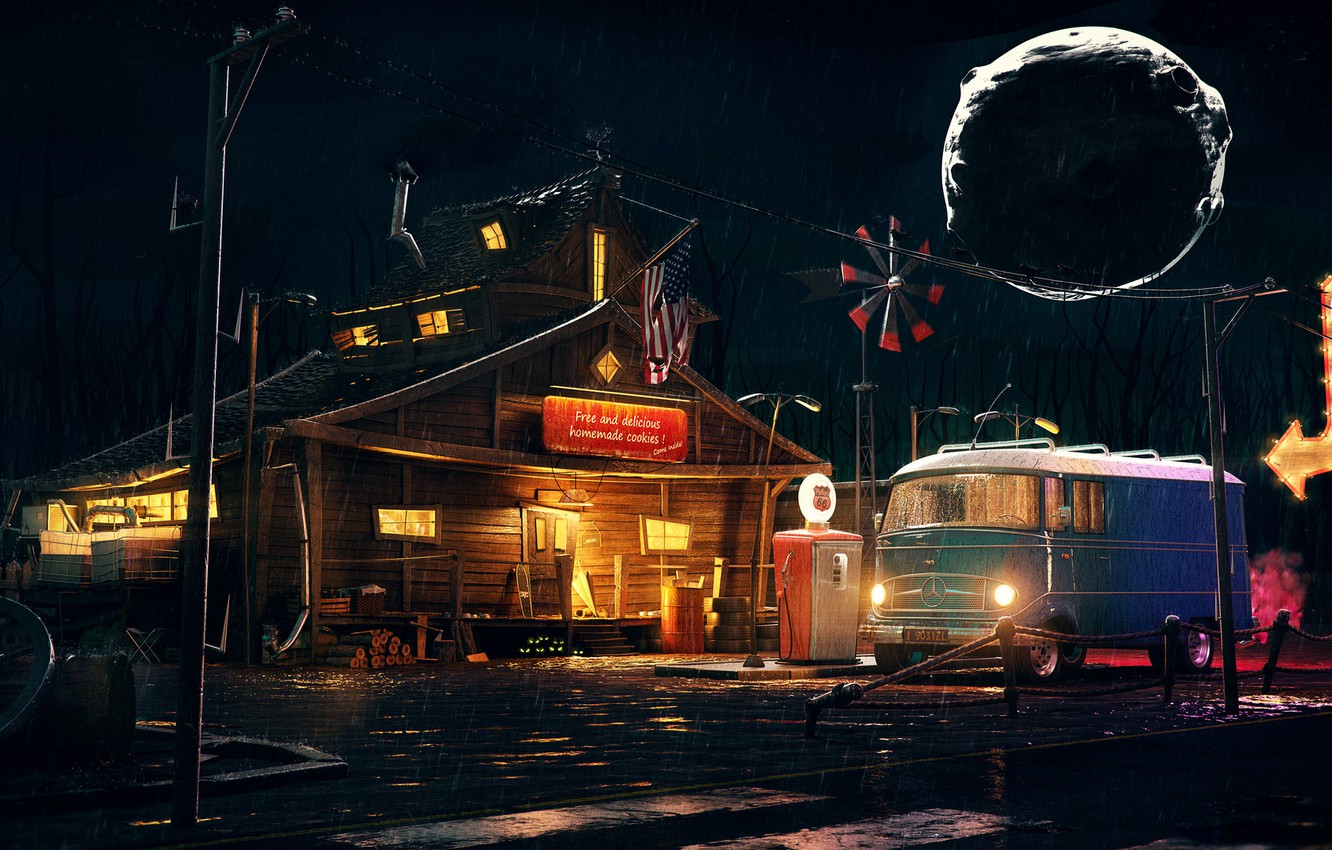 Wallpaper Night House Machine Rain Flag House Mercedes Usa Wood Station Rain Old Gas Stations Spooky Rainy Gas Station Images For Desktop Section Art Download