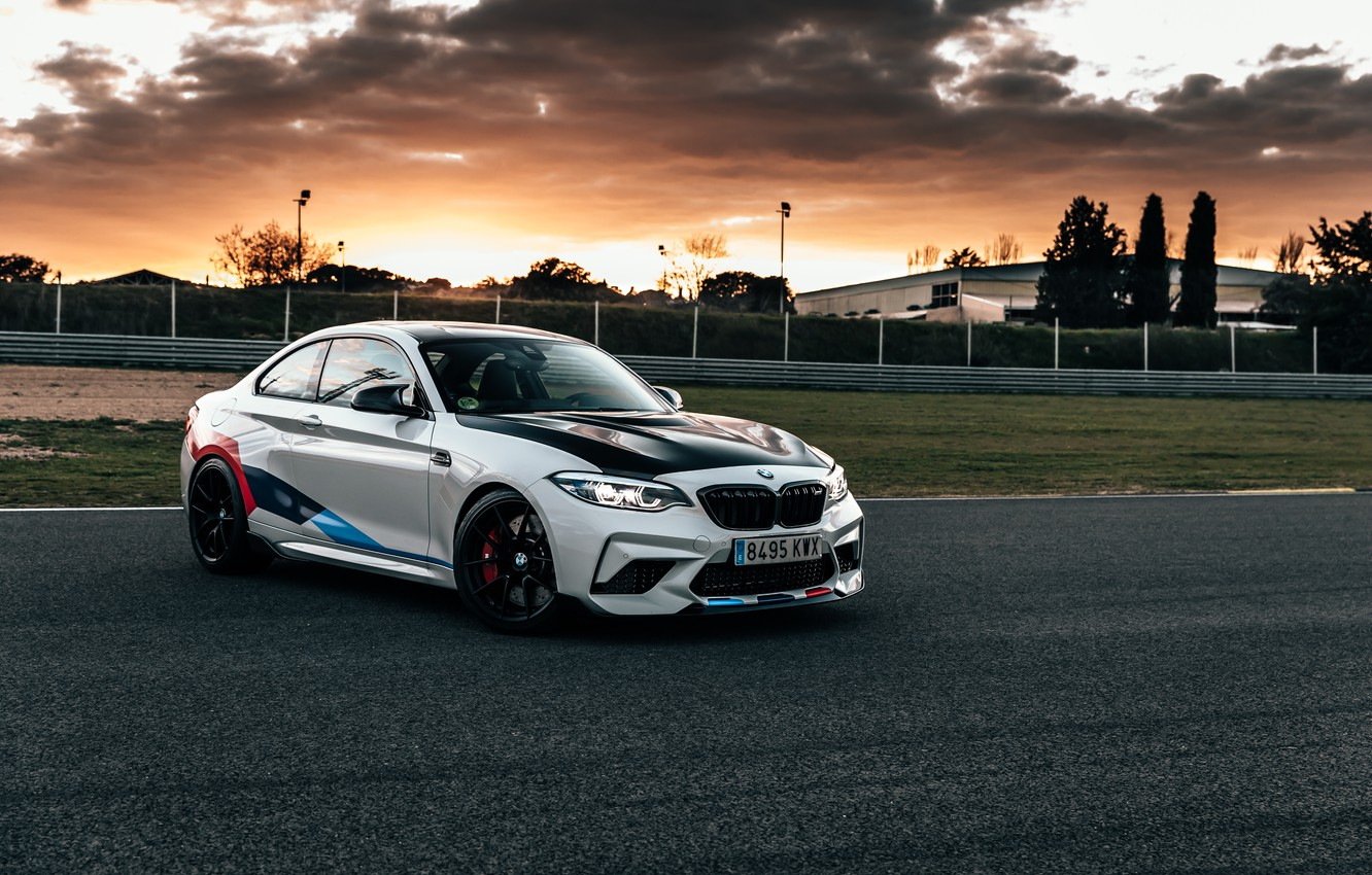 Photo wallpaper sunset, the evening, BMW, racing track, 2018, Competition, F87, BMW M2, M Performance Accessories