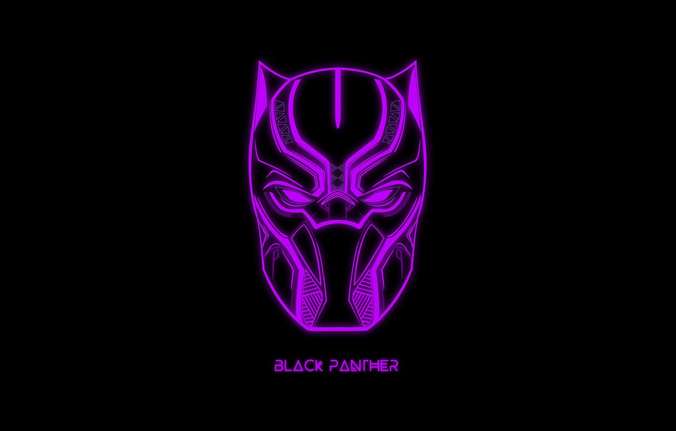 Photo wallpaper the inscription, mask, black background, MARVEL, Black Panther, Black Panther