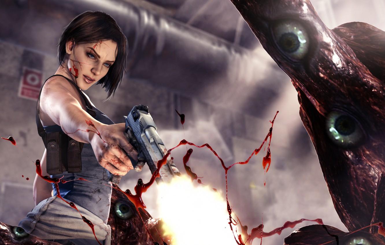 Wallpaper Resident Evil Capcom Blood Girl Jill Valentine