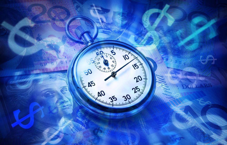 Photo wallpaper close-up, blue, background, watch, money, dollars, dial, bills, pocket watch