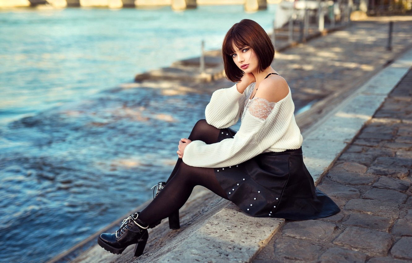 Photo wallpaper look, the sun, pose, river, skirt, portrait, makeup, figure, hairstyle, tights, brown hair, boots, beauty, …