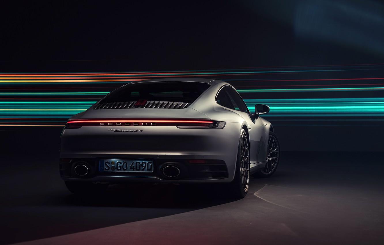 Photo wallpaper 911, Porsche, rear view, Carrera 4S, 2019
