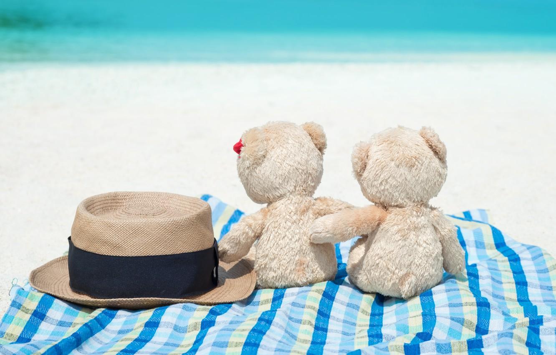 Photo wallpaper sand, sea, beach, love, toy, bear, bear, pair, love, two, beach, bear, sea, romantic, sand, …