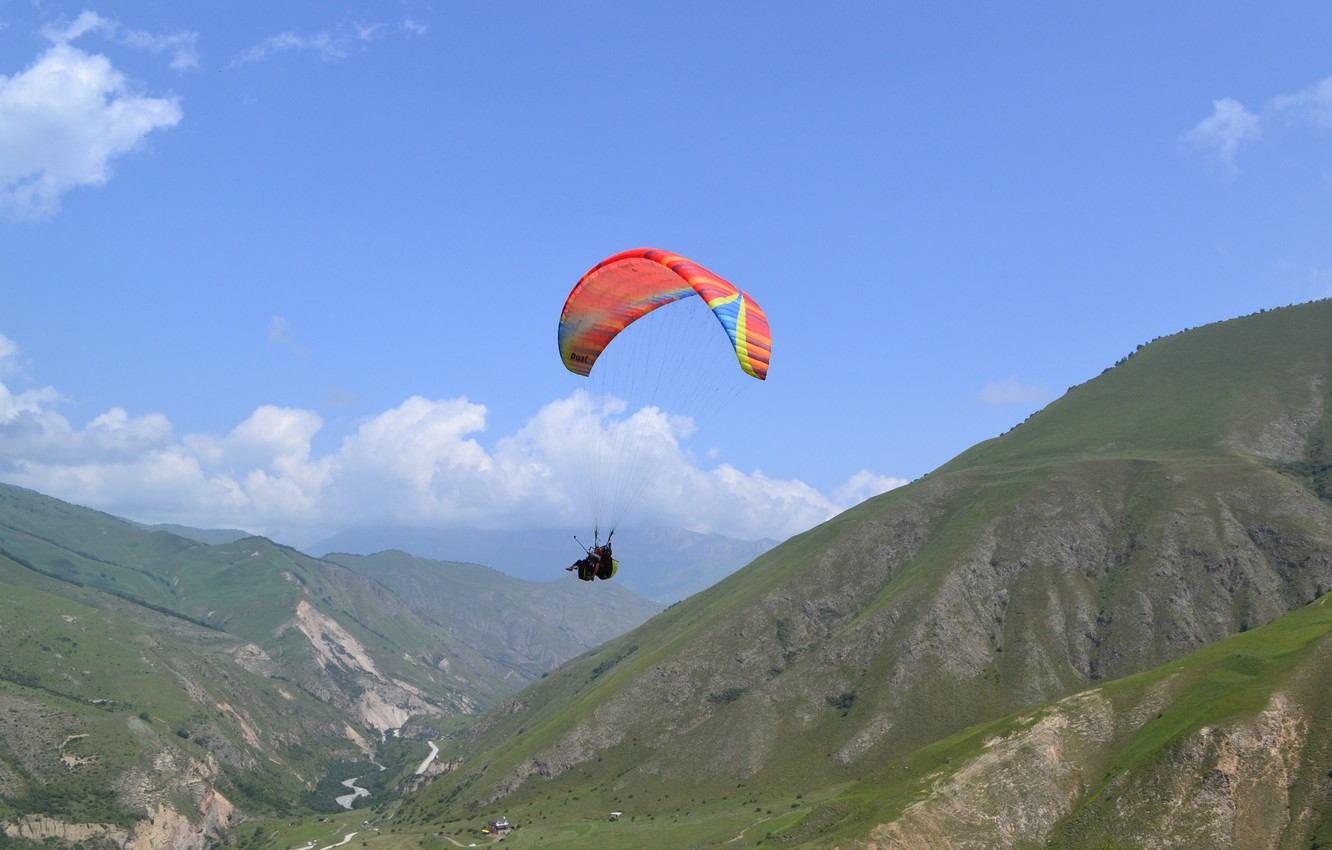 Photo wallpaper summer, Nature, Mountains, Flight, PARAPAN, Cheget, In the sky, Elbrus