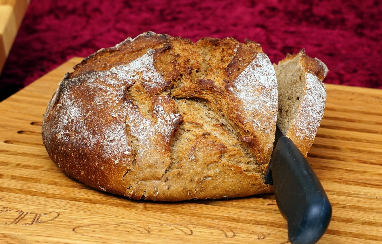 Photo wallpaper bread, knife, cutting Board