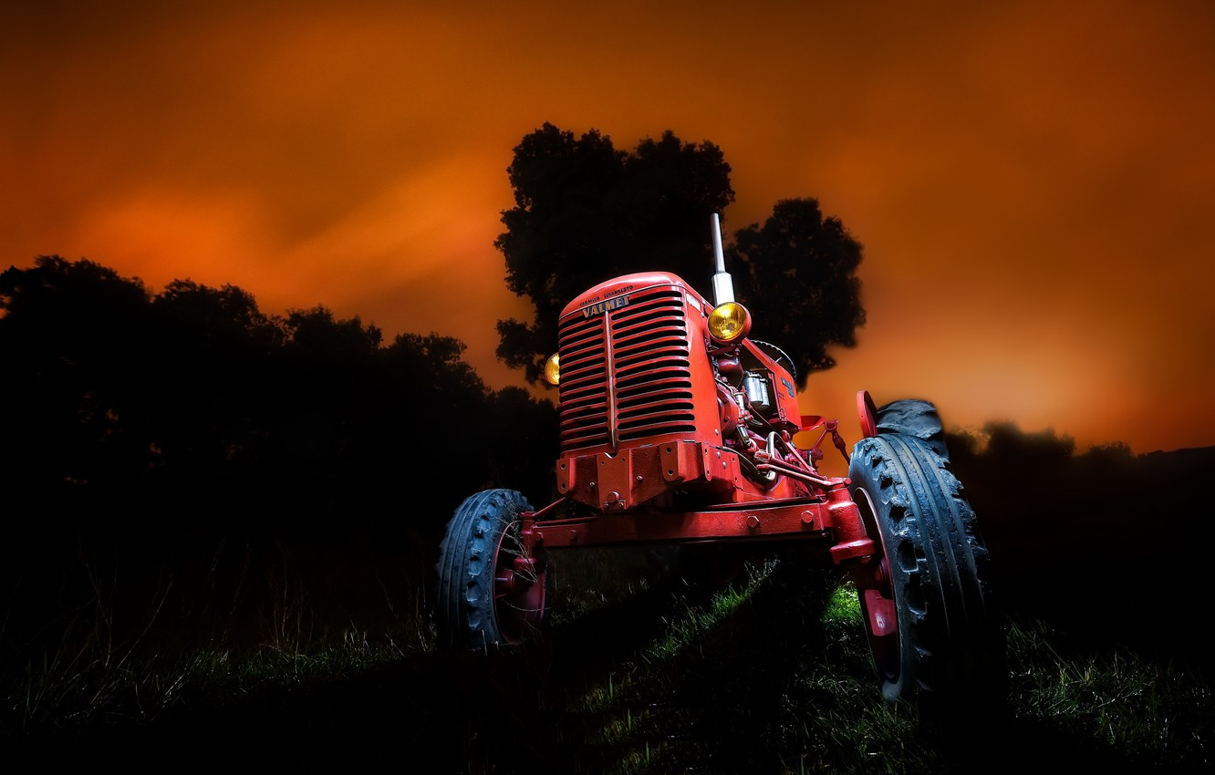 Photo wallpaper night, background, tractor