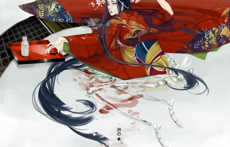 Photo wallpaper pattern, Japan, geisha, skeleton, blanket, kimono, long hair, art, tray, in bed, sake, Chhuang