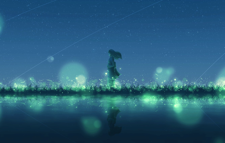 Photo wallpaper water, girl, night, fireflies