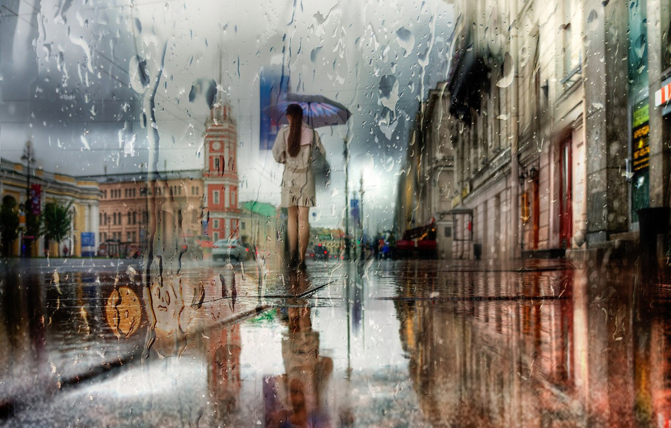 Photo wallpaper girl, the city, house, reflection, street, the building, Rain