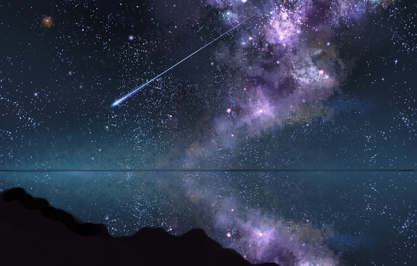 Wallpaper The Sky Water Night Shooting Star Images For