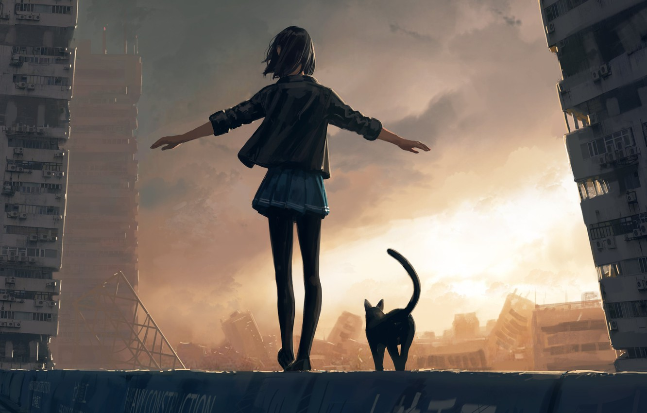 Photo wallpaper girl, the ruined city, black jacket, from the back, black cat, cloudy sky, hand in …