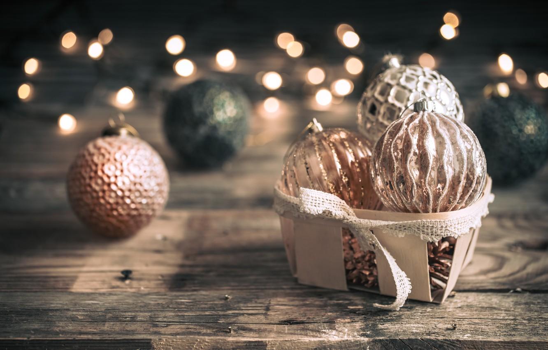 Photo wallpaper decoration, lights, balls, Christmas, New year, christmas, balls, wood, vintage, bokeh, decoration