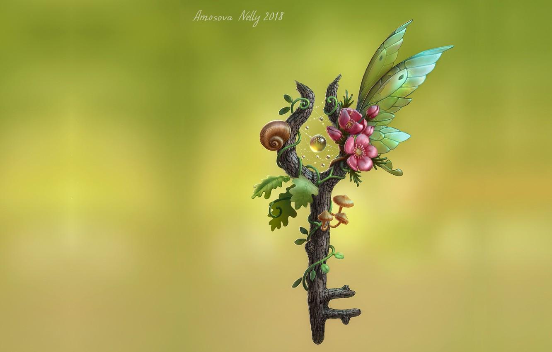 Photo wallpaper wings, minimalism, fantasy, art, children's, key, Fairy key, Nelly Amosova