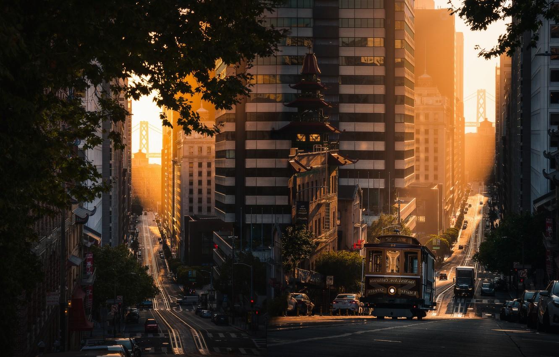 Photo wallpaper light, machine, street, home, mirror, CA, San Francisco, tram, USA, two photos