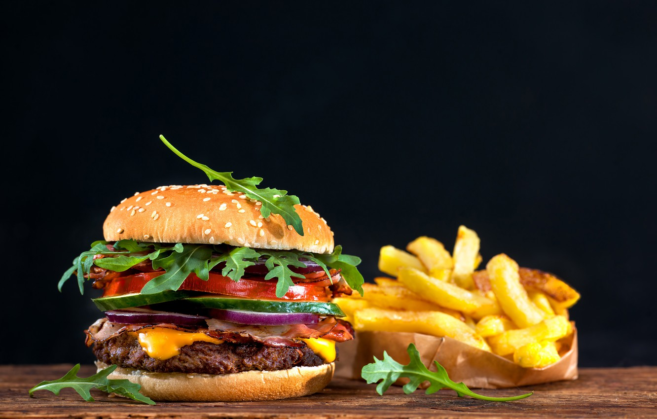 Photo wallpaper black background, sandwich, hamburger, bokeh, fast food, French fries