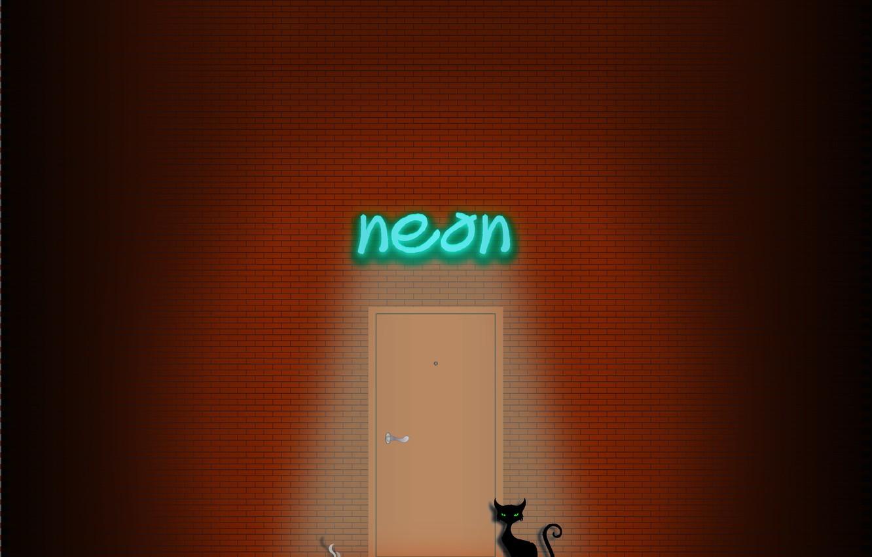 Photo wallpaper cat, cat, wall, smoke, neon, cigarette, brick wall