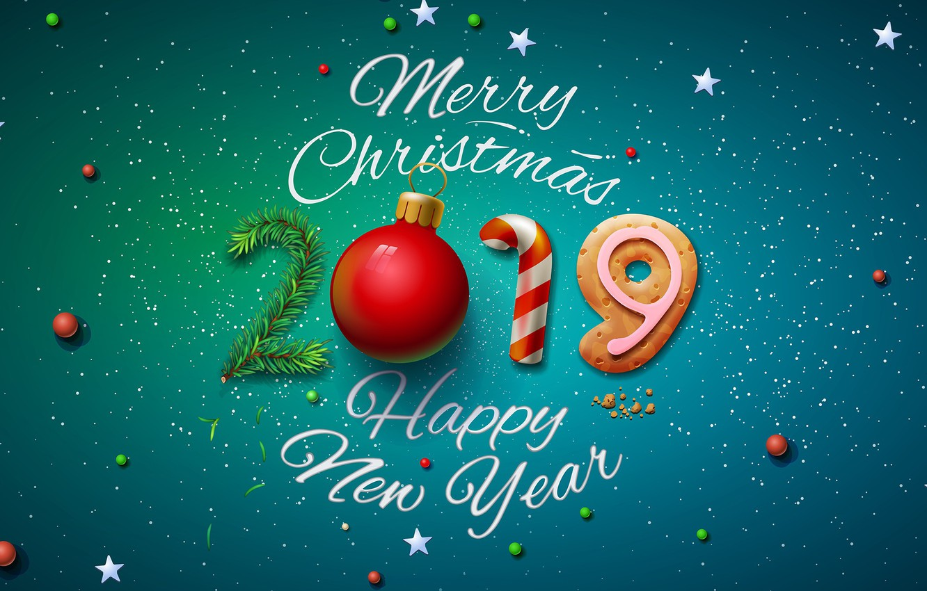 Photo wallpaper background, graphics, tree, ball, figures, New year, 2019