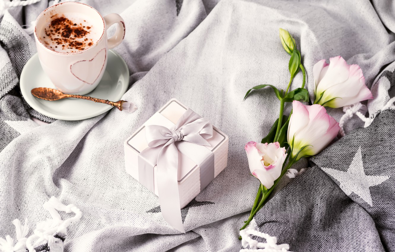 Photo wallpaper comfort, gift, coffee, bouquet, Cup, plaid, Eustoma